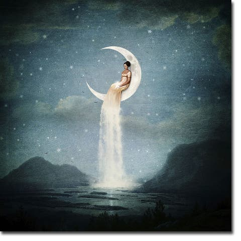 Moon River Lady by Paula Belle Flores Gallery Wrapped Canvas Giclee Art (30 in x 30 in)