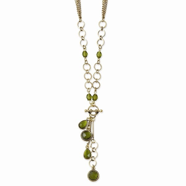 Brass Green Crystal & Acrylic Beads Y Necklace - 16in