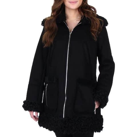 Sam Edelman Women's Faux Shearling Trim Shawl Collar Winter Coat - Black
