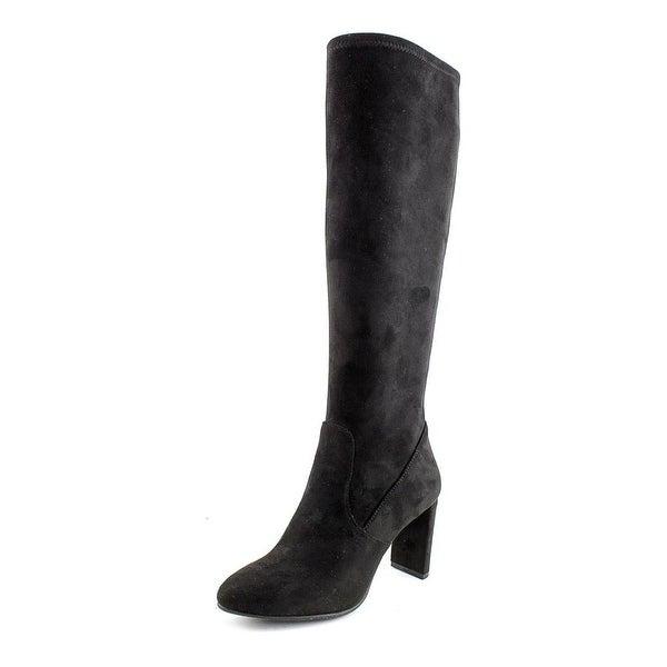 Nine West Kellan Wide Calf Women Round Toe Canvas Black Knee High Boot