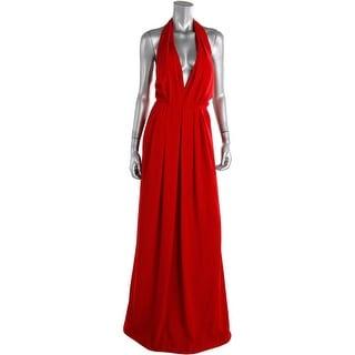 Jill Stuart Womens Halter Pleated Evening Dress