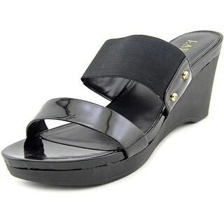 Lauren Ralph Lauren Rhianna Open Toe Patent Leather Wedge Heel