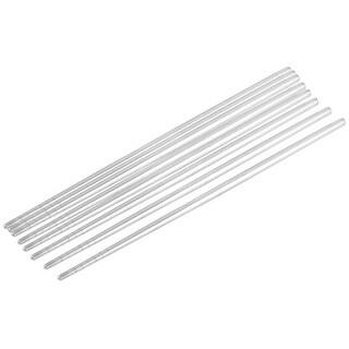 Non-slip Design Stainless Steel Chop Sticks Chopsticks Silver Tone 4 Pairs