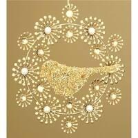 Roman  Winters Beauty Beaded Gold Wreath with Bird Christmas Ornament