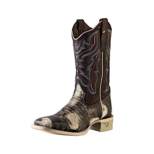Outlaw Western Boots Womens Lizard Print Lined Square Chocolate