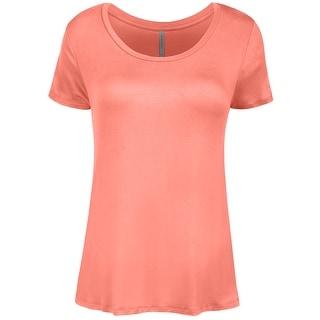 NE PEOPLE Womens Shorts Sleeve Scoop Neck Spandex T-shirts Top-NEWT309