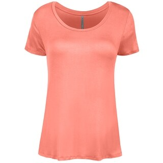 NE PEOPLE Womens Shorts Sleeve Scoop Neck Spandex T-shirts Top-NEWT309