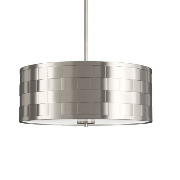 """Park Harbor PHPL5074 20"""" Wide 4-Light Foyer Pendant with Patterned Metal Drum Shade - Brushed nickel"""