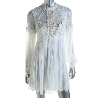Free People Womens Lace Overlay Open Back Babydoll Dress - 2
