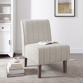 Link to Bradford Linen Striped Upholstered Slipper Chair Similar Items in Accent Chairs