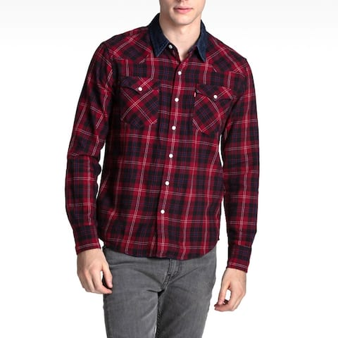 Levis Classic Western Plaid Checkered Flannel Shirt Denim Collar Button 66986