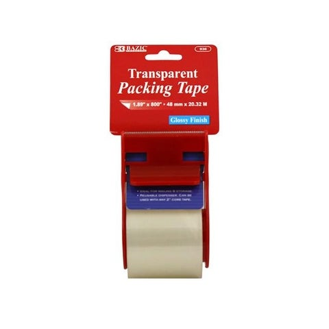 "Bazic Tape Packing w/Dispenser 1.89x800"" Clear"