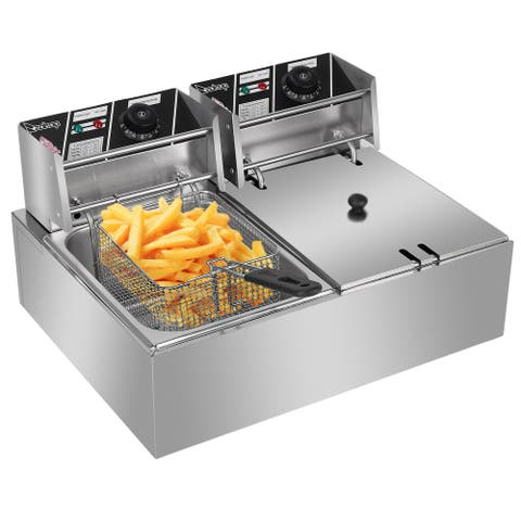 6.3QT/12.7QT Stainless Steel Single/Double Cylinder Electric Fryer Tabletop Restaurant Frying Basket(2500W/5000W)