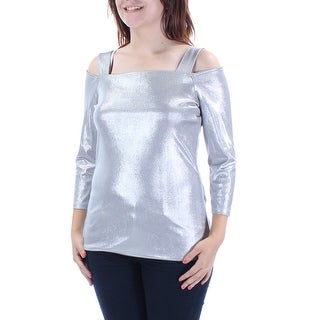 Womens Silver Long Sleeve Square Neck Casual Vest Top Size S