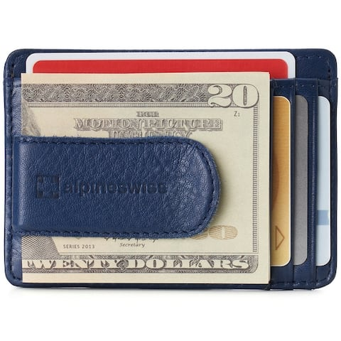 Alpine Swiss RFID Dermot Money Clip Front Pocket Wallet For Men Leather Comes in a Gift Box - One Size