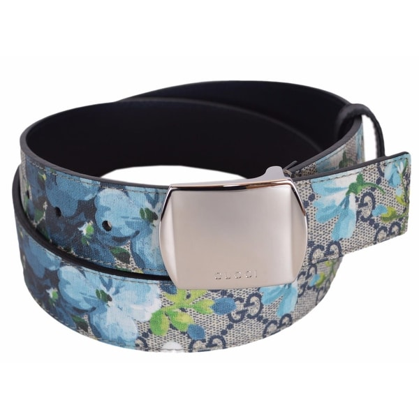 New Gucci Men's 424674 GG Supreme Canvas Blue Blooms Logo Buckle Belt 38 95