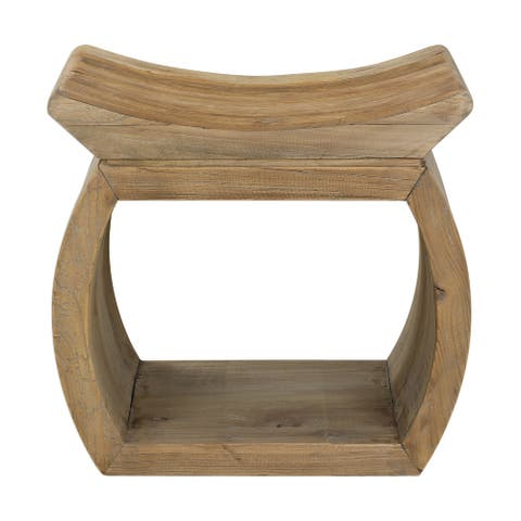 "Uttermost 24814 Connor 18"" Wide Elm Wood Frame Accent Stool by Matthew Williams - Natural Elm"
