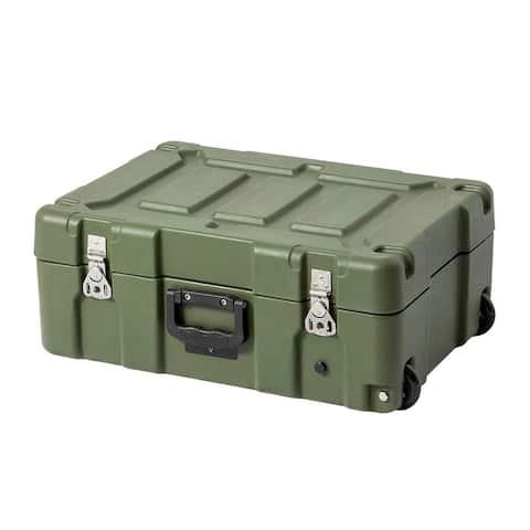 Monoprice Stackable Rotomolded Weatherproof Case W/Foam and Wheels 21 x 14 x 8in