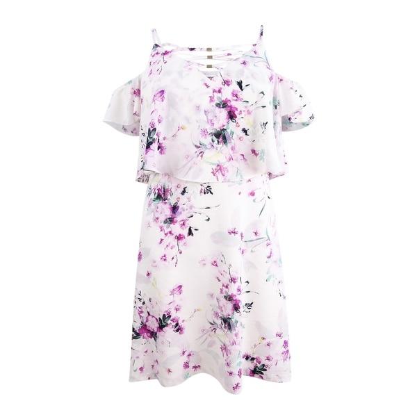 kensie Women's Floral Cold-Shoulder Popover Dress - Multi
