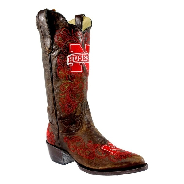 Gameday Boots Women Nebraska Pointed Toe Embroidered