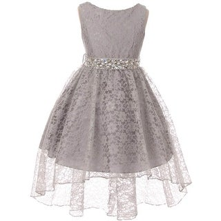 BNY Corner Flower Girl Dress Lace Hi-Low with Rhinestone Belt Silver