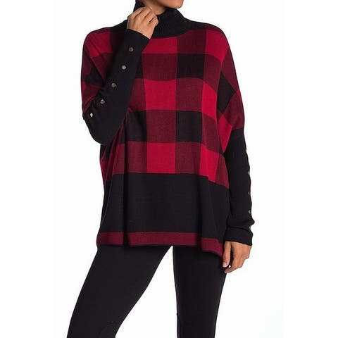 Joseph A. Red Women's Size Medium M Turtleneck Poncho Sweater