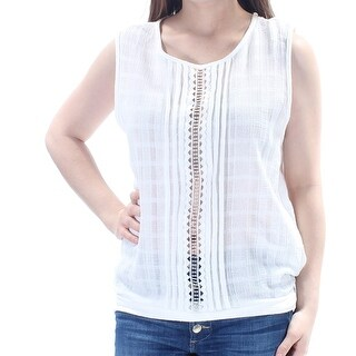 MAX STUDIO $68 Womens New 1595 White Embroidered Sleeveless Top XS B+B