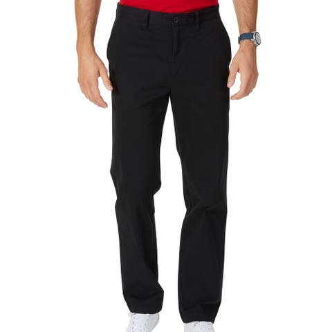 Nautica Mens Khaki Pants Black Size 56x30 Big & Tall Flat Front Twill