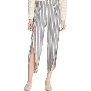 Free People NEW Gray Womens Size 4 Striped Side Slit Cropped Pants