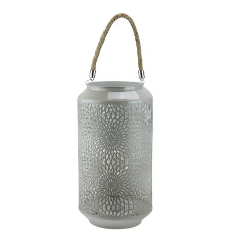 """11.75"""" Gray Metal LED Indoor/Outdoor Lantern with Rope Handle"""