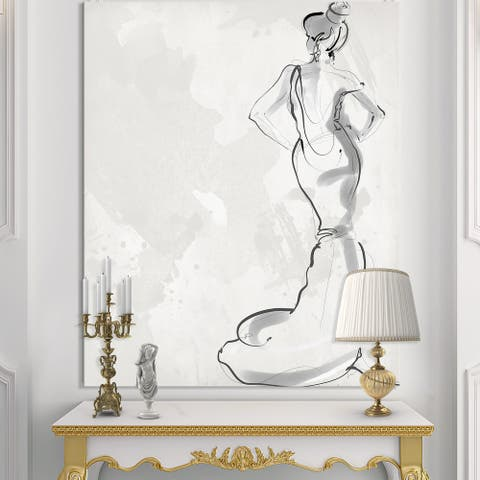 Designart 'Fancy Woman In Evening Dress' Fashion Canvas Artwork Print