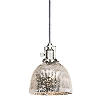 """JVI Designs 1201-17-S5-SR Union Square 1 Light 8"""" Tall Pendant with Antique Mercury Ribbed Mouth-Blown Glass Shade"""
