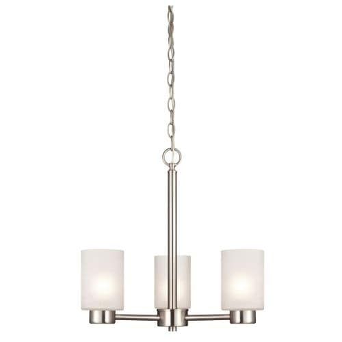 Westinghouse 6227500 Sylvestre 3 Light Single Tier Up Lighting Chandelier with Frosted Seeded Glass Shades