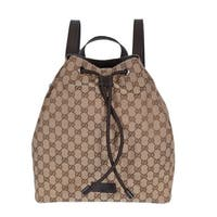 Gucci 449175 Beige Canvas GG Guccissima Drawstring Backpack Rucksack Bag - Beige/Brown