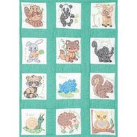 "Stamped White Nursery Quilt Blocks 9""X9"" 12/Pkg-Forest Friends"