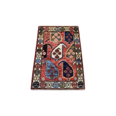 """Hand Knotted Red Tribal & Geometric with Wool Oriental Rug (2' x 2'10"""") - 2' x 2'10"""""""