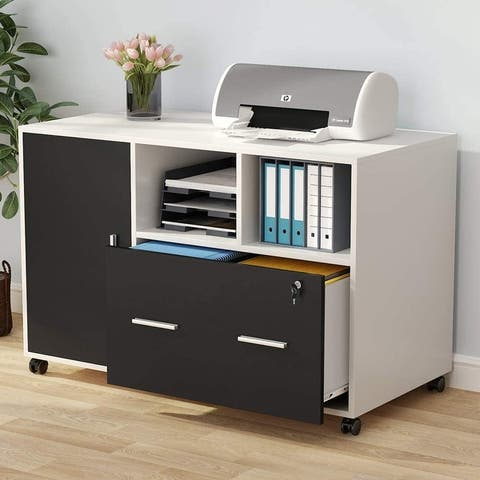 File Cabinet with Lock and Drawer, Mobile Lateral Filing Cabinet with Wheels