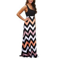 Womens Boho Empire Chevron Tank Top Casual Maxi Long Dress Beach Dresses