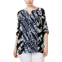 Calvin Klein Womens Plus Tunic Top Chiffon Printed