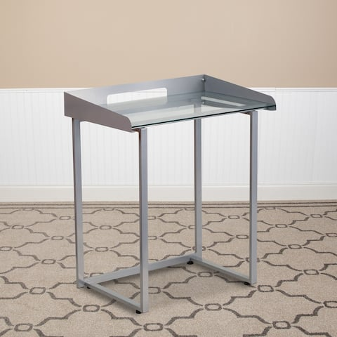 Clear Tempered Glass Desk w/ Raised Cable Management Border & Silver Metal Frame