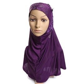 Muslim Gauze Lace Zircon Kerchief Scarf purple