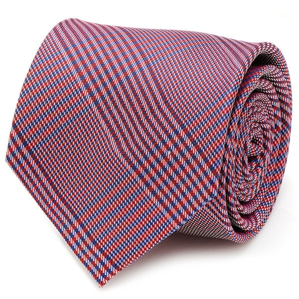 Red and Blue Glen Plaid Silk Tie - One Size Fits most