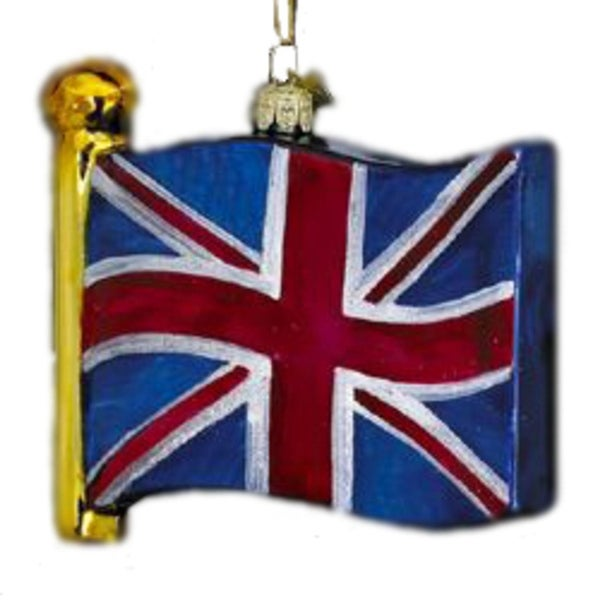 Noble Gems Mouth Blown Glass United Kingdom Flag Christmas Ornament