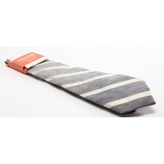 TALLIA NEW Gray Robert Stripes Men's Linen Blend Necktie Pocket Square
