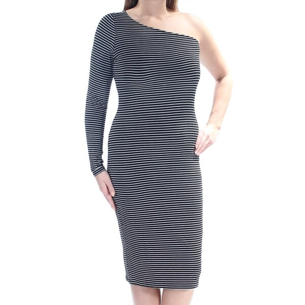 5f77551b24e Shop Womens Black Striped Long Sleeve Below The Knee Body Con Evening Dress  Size  XL - On Sale - Free Shipping On Orders Over  45 - Overstock.com -  21350984