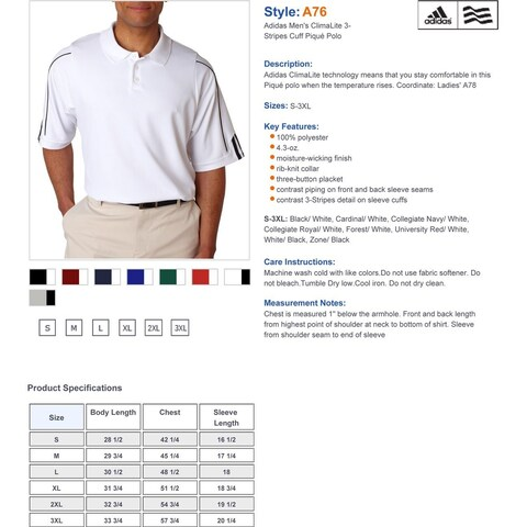 Adidas Golf A76 Men's ClimaLite 3-Stripes Cuff Polo
