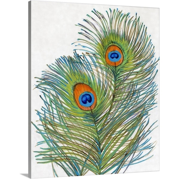 """Vivid Peacock Feathers I"" Canvas Wall Art"