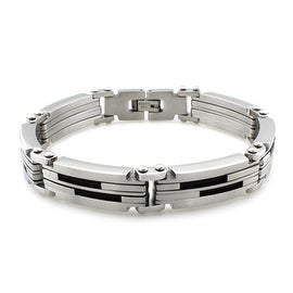 Stainless Steel Dual Black Cable Inlay Link Bracelet - 8.5 inches