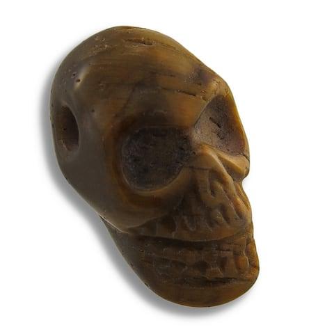 Carved Tiger Eye Gemstone Skull Pendant 25mm 1 Inch - One Size