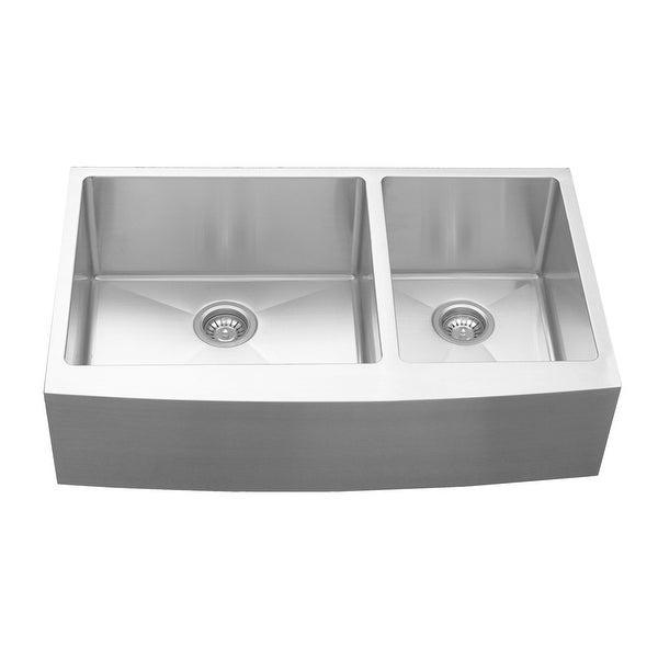 Karran Stainless Steel 36 in. Farmhouse/Apron Double bowl 60/40 Sink. Opens flyout.